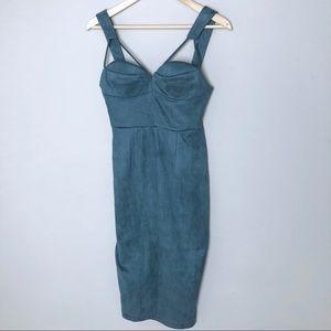 Teal Blue Faux Suede Pencil Dress